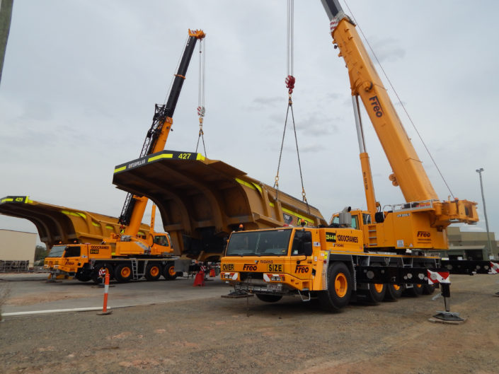 Tadano 90 Tonne All Terrain Crane (Left) & Tadano 220 Tonne All Terrain Crane (Right)