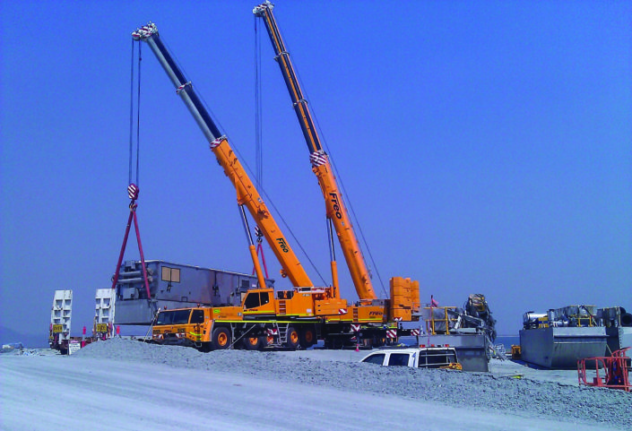 Tadano 180 Tonne All Terrain Crane (Left) & Tadano 400 Tonne All Terrain Crane (Right)
